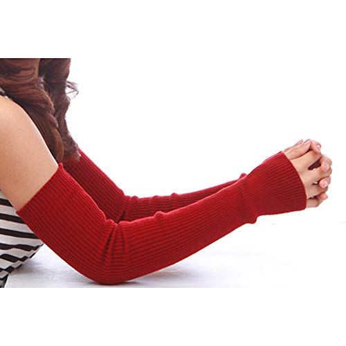 Damen Kaschmir Fingerlose Armstulpen Super Lang 50cm (50cm) Winter kaltem Wetter Handschuhe 19.7Inch rot - Handschuhe Leder Rot Fingerlose