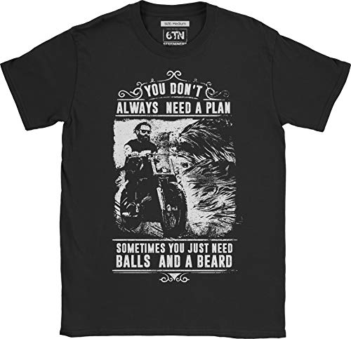 6TN Hombre You Don't Always Need a Plan Just Bolas y un Barba Camiseta - Negro, X-Large