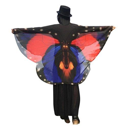 TUDUZ Frauen Flügel Schmetterling Schals Damen Nymphe Pixie Poncho Halloween Weihnachten Cosplay Kostüm Zubehör für Party (160 * 140cm,A-Rot)
