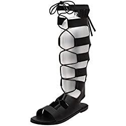 LvRao Mujer Romano Sandalias Cordón Zapatos Planos Punta Abierta Cierre Cremallera Sandalias (Negro, EU 37)