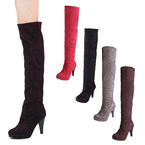 Nonbrand Damen Stiletto-Absatz synthetischer über Knie Stiefel, Rot - rot - Größe: 37