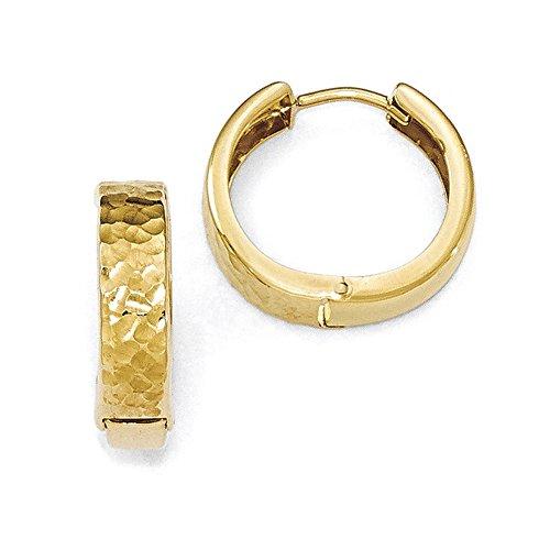 10K Gelb Gold Poliert, gehämmert Scharnier Creolen ()