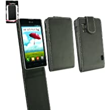 Emartbuy® LG Optimus L5 II E460 Pu Del Premio Del Cuero Del Tirón Del Caso / Cubierta / Bolsa Negro