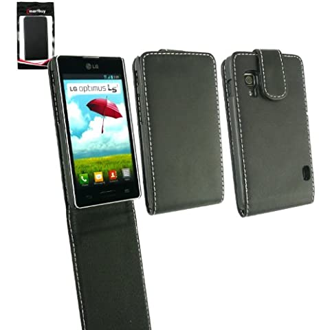 Emartbuy ® LG Optimus L5 II E460 Premium Di Cuoio Di Caso Di Vibrazione / Copertura / Sacchetto Nero