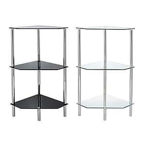hartleys 3 etagen dreieckig glas ecke regal erh ltlich in schwarz oder klar glas farblos. Black Bedroom Furniture Sets. Home Design Ideas