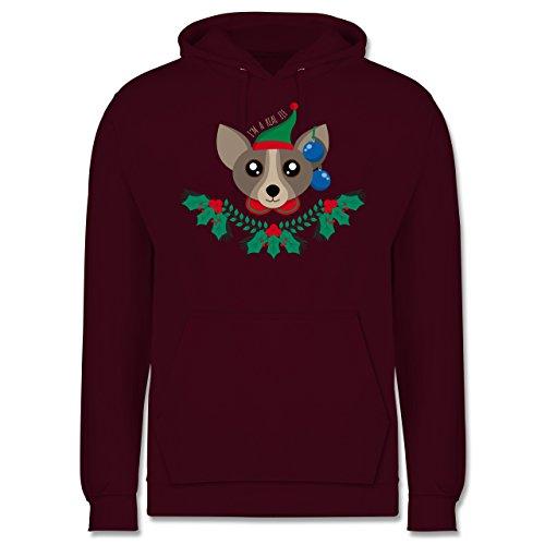 Weihnachten & Silvester - Chihuahua Weihnachts-Elfe - Männer Premium Kapuzenpullover / Hoodie Burgundrot
