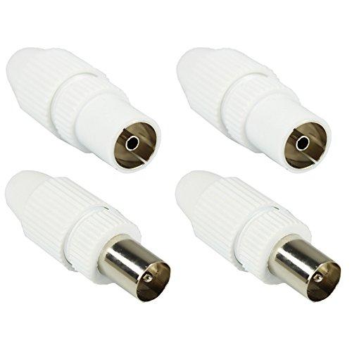 Kabel Stecker Antenne (COM-FOUR® HQ Set: 2x Stecker + 2x Buchse, High Quality TV Antennen Koax Stecker Kupplung weiß)