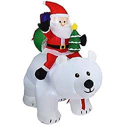 Père Noël Gonflable Équitation Ours Polaire Gonflable - Père Noël Ours Polaire Lumineux Exterieur/intérieure Noël Decoration 2M