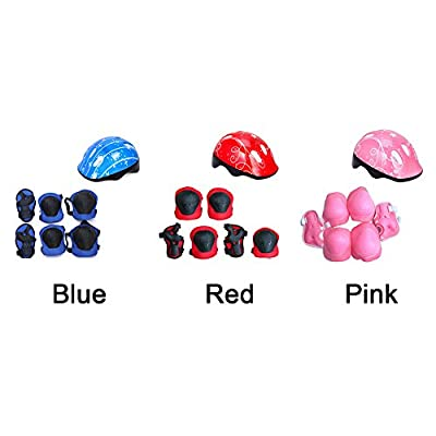 LNIMIKIY Kids Bike Helmet and Pads Set, Knee Pads Elbow Pads Wrist Guards and Adjustable Helmet for Bike Scooter Skateboard Skate for Child Boys and Girls by LNIMIKIY