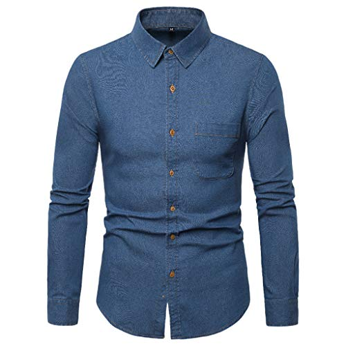 DNOQN Herren Hemden Langarm Achselshirt Männer Gestreift Spleiß Tasche Langarm Shirt Mode Langarm Bluse Top XXL