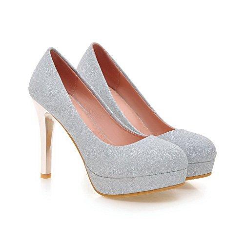 AllhqFashion Damen Hoher Absatz Rein Ziehen Auf Weiches Material Rund Zehe Pumps Schuhe Silber