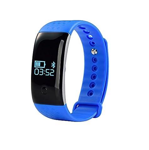 Heart Rate Bracelet, YuStar 0.66 inch OLED Touch Screen Blood Oxygen Monitor Bluetooth Sport Waterproof Anti-Lost Sleep Monitoring Smart Bracelet (Blue)
