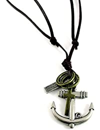 Streetsoul Marine Anchor Brown Leather Adjustable Necklace Gift For Men.