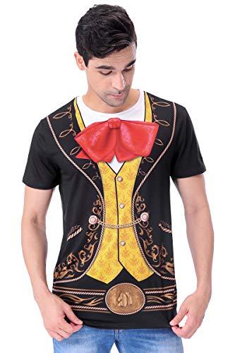 COSAVOROCK Mariachi Halloween Kostüm Bedruckte T-Shirts für Herren (XL, Schwarz)