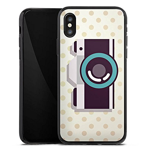 Apple iPhone X Silikon Hülle Case Schutzhülle Kamera Symbol Linse Silikon Case schwarz