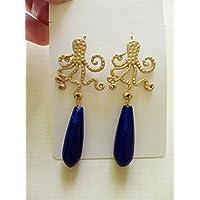 regalo di san valentino amore coppia fidanzamento innamorati orecchini polipi estate mare sicilia vacanze ottone oro agata blu lapislazzuli