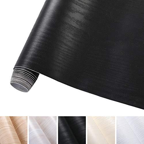 KINLO 5 * 0.61M Stickers Meubles Bois Imperméable Noir en PVC Papier Peint Auto-Adhésif pour Armoire de Cuisine Stickers Muraux Étanche Décor Table Placard Porte Carreaux Cuisine Tiroir