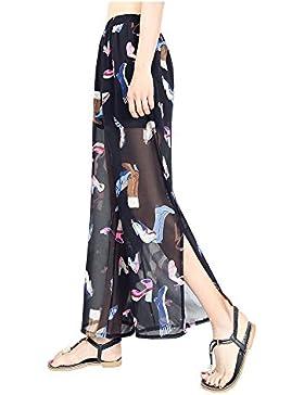 Pantalones Mujer Verano Chifón Pantalone Acampanados Cintura Alta Pantalones Bootcut Estampados Flores Elegantes...