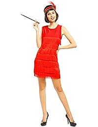 Anladia 20er Damen retro Fransen Kleid Flapper Hochzeitkleid Tanzkleid Partykleid Charleston Kostuem Kleid m Kopfschmuck