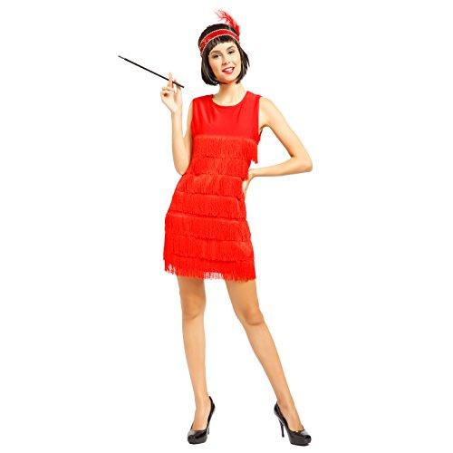 Anladia 20er Jahre Fransen Charleston Kleid Damen Kostüm Flapperkleid Tanzclub Bälle Party Abendkleid, Rot, ()