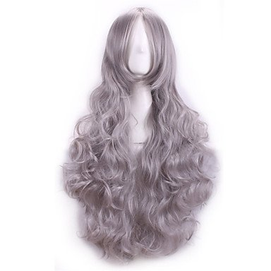 HJL-80 perruque Cm Cosplay perruques Anime femmes pleine Curly Sexy chaleur r¨¦sistant synth¨¦tiques cheveux perruque f¨ºte costum¨¦e , grey