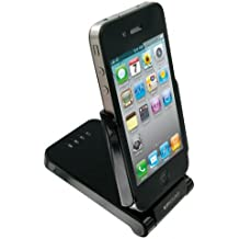 Kit Powerstand - Batería externa y base para iPhone 4 y 4S, iPod Touch 2G, 3G y 4G (1800 mAh), color negro