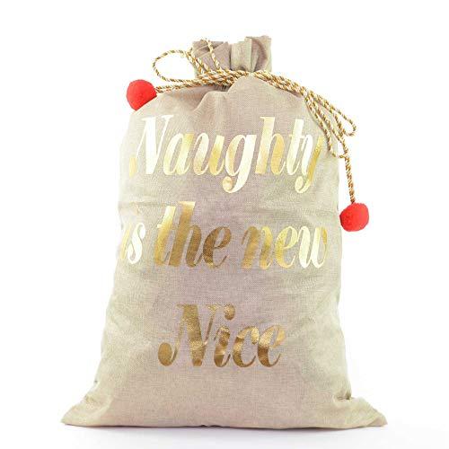 Shatchi 15438-SACK-1PCS Weihnachtsstrumpf aus Sackleinen, 72 x 50 cm, Naughty is the New Nice Christmas Accessories braune Taschen, mehrfarbig