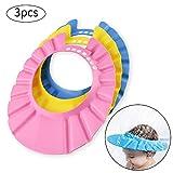 Ansblue Pack of 3 Baby Shampoo Shower Bathing Protection Bath Soft Cap Soft Adjustable Visor Hat for Toddler, Baby, Kids, Children