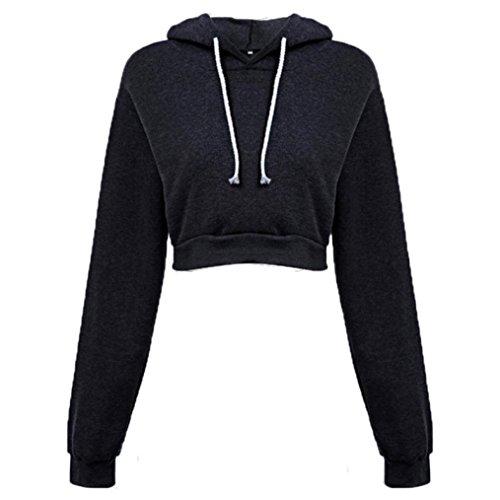 Amlaiworld Sweatshirts Mode Kurz Pulli Langarmshirts Damen bauchfrei komfortabel locker Sweatshirt weich Winter Herbst Kapuzenpullover für M?dchen (XL, Schwarz) -