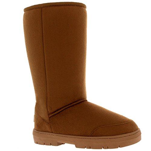 Damen Schuhe Classic Hoch Fell Schnee Regen Stiefel Winter Fur Boots Hellbraun