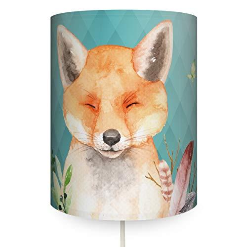 Anna Wand Wandlampe Fuchs Mint - Runder Wandlampenschirm mit Stoffkabel zum Aufhängen für Kinder/Baby Lampe mit Fuchs - Sanftes Licht im Kinderzimmer Mädchen & Junge -