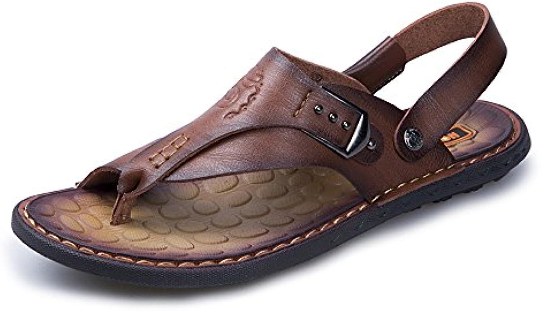 Chanclas Ocasionales de los Hombres Zapatos de Cuero de la PU Zapatillas de Playa Antideslizante Trabajo Hecho...