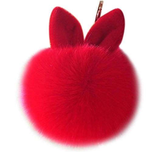 Vovotrade Portachiavi di moda coniglio bello sfera della pelliccia del sacchetto di Keychain dell'automobile della peluche del pendente di chiave auto (Rosso)