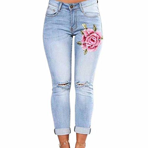 Tonsee Damen Skinny Butt Lift Hip Denim Hosen Bestickt Gedruckt Low Rise Jeans (M, Hellblau) High Waisted Bootcut Jeans
