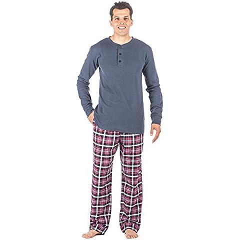 Noble Mount Homewear Conjunto Pijama Térmico de 100% Franela Algodón para Hombre