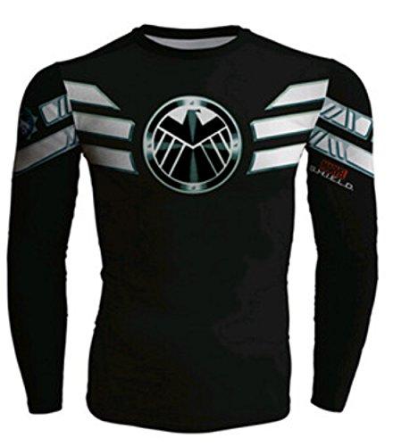 Men's Long sleeve Captain America Compression Sweatshirt Black White