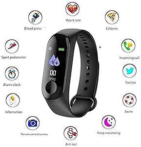 Creatif Ventures M4 Band Intelligence Bluetooth Health Wrist Smart Band Watch Monitor/Smart Bracelet/Health Bracelet/Smart Watch for Mens/Activity Tracker/Waterproof Fitness Tracker(Black)