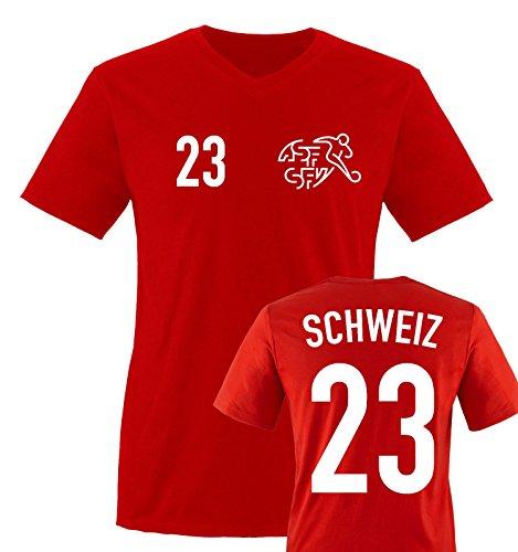 EM 2016 - TRIKOT - EM 2016 - SCHWEIZ - 23 - Herren V-Neck T-Shirt - Rot / Weiss Gr. XL