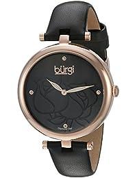 Burgi Reloj de mujer de cuarzo con Negro esfera analógica pantalla y correa de cuero negro bur151bkr