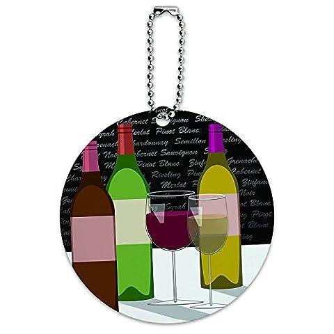 Verres et bouteilles de vin Bordeaux Shiraz Pinot rond étiquette d'identification bagage valise-carte de