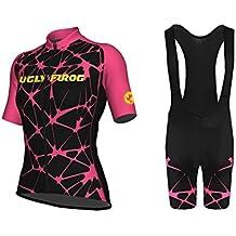 Uglyfrog Designs Mujer Bike Wear Jersey de Ciclismo Maillot Ciclismo de Manga Corta y Ciclismo Bib