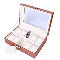 Watch Holder, Watch Organiser, Watch Box Storage, Ladies Watches Jewelry Display Case for 10Grids, (Brown-Yellow)Faux Leather with Glass Lid Lock Key and Velvet Liner by JKC