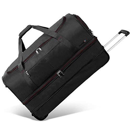 XXL Reisetasche Akropolis | Tasche mit Rollen und Trolley-Funktion | Sporttasche | 110 Liter groß - Schwarz