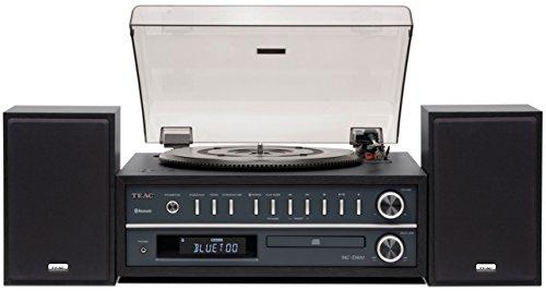 Teac MC-D800(B) Système combiné lecteur CD et platine vinyle (entraînement par courroie, trois vitesses de rotation, haut-parleurs Bass Reflex, Bluetooth, USB, radio), noir