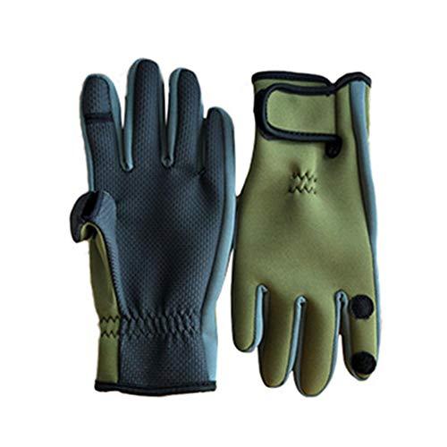 AONIJIE Angelhandschuhe mit 3 geschnittenen Fingern Cabriolet, Neopren, kalte Wetter, wasserdicht, Rutschfeste Handfläche für Fliegenfischen, Schießen, Jagd, Radfahren, Gelb/Grün, Large - Kaltes Wetter Schießen Handschuhe