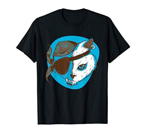 Zombie Piraten Katze Untote Monster Halloween Jolly Roger  T-Shirt