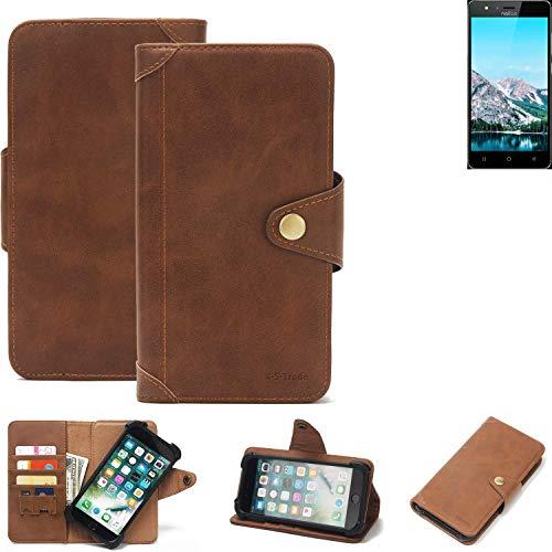 K-S-Trade Handy Hülle für TP-LINK Neffos C5S Schutzhülle Walletcase Bookstyle Tasche Handyhülle Schutz Case Handytasche Wallet Flipcase Cover PU Braun (1x)