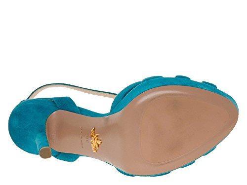 PRADA Femmes Chaussures à talons hauts cuir véritable Turquoise