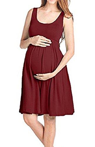 Trada Röcke, Art und Weise Womens Pregnants O-Ausschnitt Sleeveless Pflege Mutterschaft Solid Vest Dress Chic Kurze Kleid Mutterschaft Kleidung Umstandskleid Strandkleid (S, Wein) Neckholder-umstandskleid