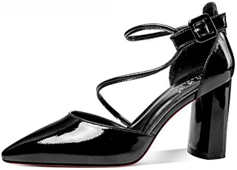 DALL Escarpins Ly-755 Chaussures Pour Femmes Tête Pointue Hauts Talons Hauts Pointue  s Grossier Talon Printemps Et Été...B07DGY4M4RParent a1de46